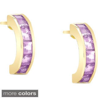 Dolce Giavonna Goldplated Sterling Silver Gemstone Half-Hoop Earrings