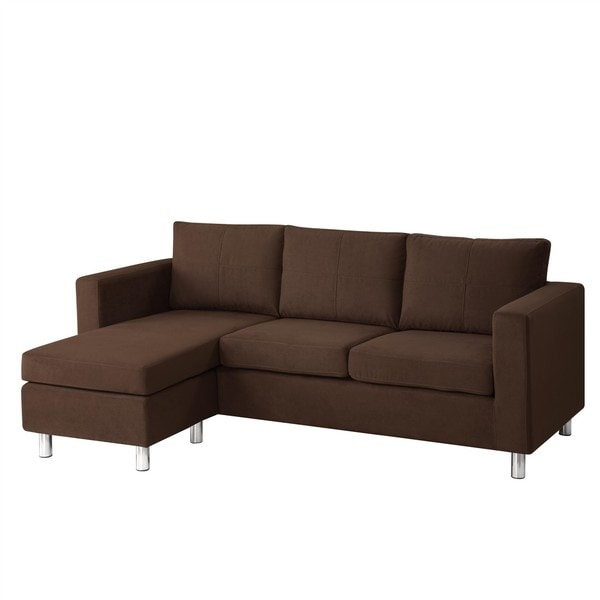 Dorel living small spaces chocolate microfiber sectional for Small sectional sofa overstock