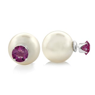 Glitzy Rocks Front and Back Swarovski Elements With Faux Pearl Stud Earrings