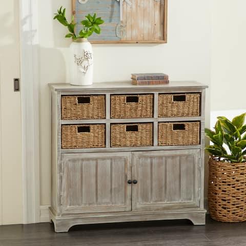 Farmhouse 35 x 38 Inch Wooden Six-basket Cabinet by Studio 350