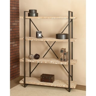 Industrial Look Metal and Wood Storage Shelf