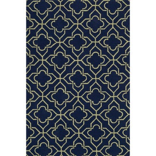 Hand-hooked Charlotte Navy/ Green Rug (3'6 x 5'6)