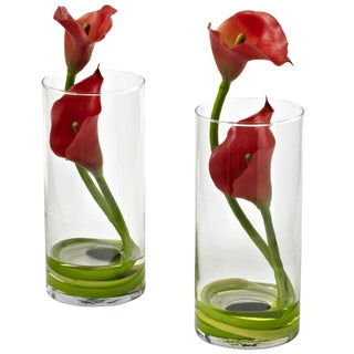 Nearly Natural Double Calla Lily with Cylinder Container (Set of 2) (Option: Red)