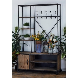 Industrial Mutli-Tiered Wood and Iron Clothes Rack by Studio 350