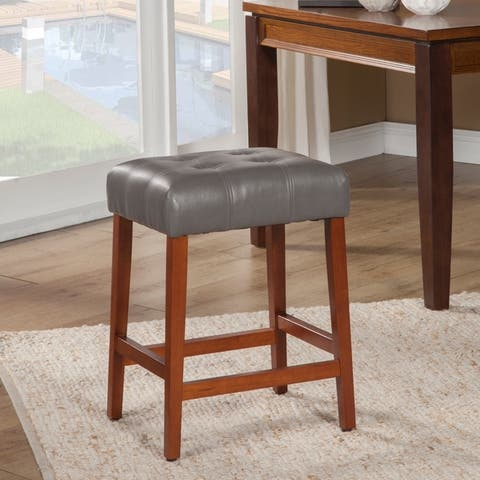 """HomePop Tufted Faux Leather 24"""" Counter Stool - 24 inches"""