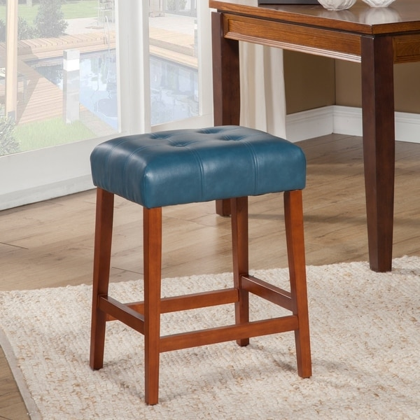 Shop Homepop Tufted Faux Leather 24 Counter Stool On Sale Free