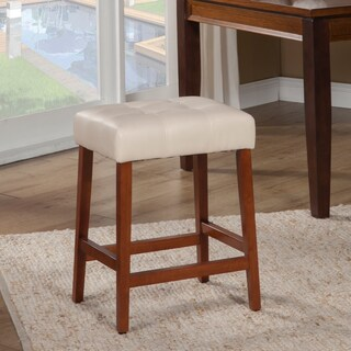 """HomePop Tufted Faux Leather 24"""" Counter Stool"""