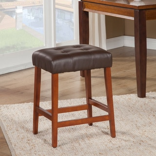 HomePop Tufted Faux Leather Square Counter Stool