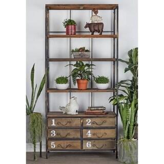 """36"""" x 78"""" Industrial Metal & Wood 6-Drawer Bookshelf by Studio 350"""