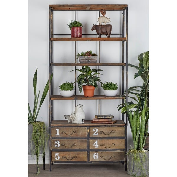 "36"" x 78"" Industrial Metal & Wood 6-Drawer Bookshelf by Studio 350"