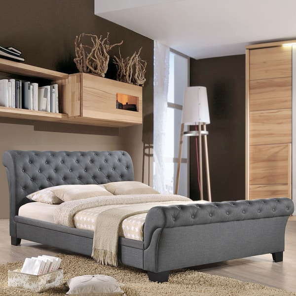 modway kate grey fabric bed frame