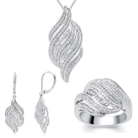 Divina 1/4ct TDW Diamond Ring, Earring and Necklace 3-piece Jewelry Set