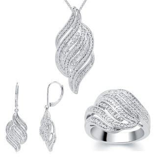 Divina 1/4ct TDW Diamond Ring, Earring and Necklace 3-piece Jewelry Set https://ak1.ostkcdn.com/images/products/9688247/P16866826.jpg?impolicy=medium