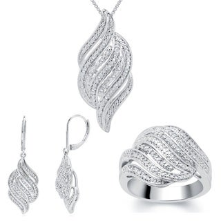 Divina 1/4ct TDW Diamond Ring, Earring and Necklace 3-piece Jewelry Set (3 options available)