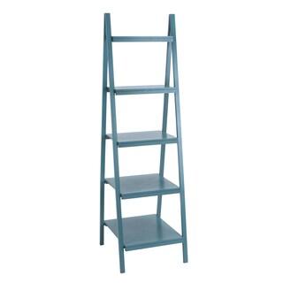 Wooden Blue 65-inch Leaning Shelf
