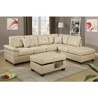 Warren Brown Leather Modern Modular Sectional Sofa Set