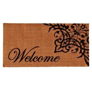Scroll Welcome Coir with Vinyl Backing Doormat (3' x 6')
