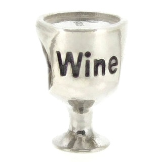 Queenberry Sterling Silver Wine Lover Glass European Bead Charm