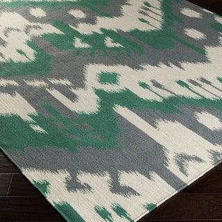 Hand-woven Tori Reversible Green/Grey Wool Rug (8' x 11')