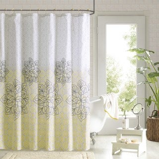 90 Degrees by Design Lab Tamara Yellow Shower Curtain and Hook Set