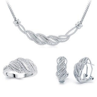 Divina Silvertone Brass 1/2ct TWD Diamond 3 Piece Jewelry Set
