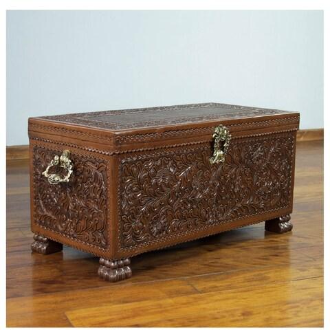 Colonial Days Furniture Home Decor Artisan Handmade Floral Motif Cedar Wood Bronze Brown Gold Handtooled Leather Chest (Peru)