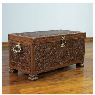 Colonial Days Furniture Home Decor Artisan Handmade Floral Motif Cedar Wood Bronze Brown Gold Handtooled Leather Chest (Peru)