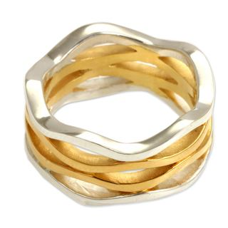Ocean Waves Modern Elegant 18K Gold Plate and 925 Sterling Silver UniqueStacked Appearance Womens Band Ring (Indonesia)