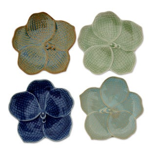 Set of 4 Handcrafted Celadon Ceramic 'Orchids' Plates (Thailand)