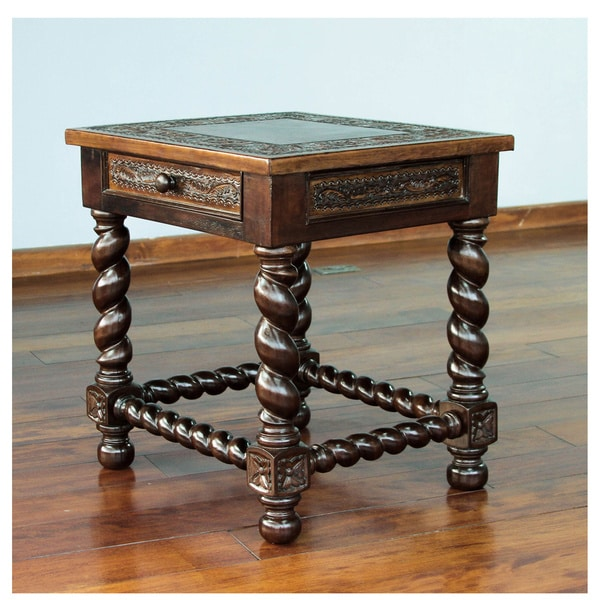 handmade viceroy single drawer dark brown leather and mohena wood end table with turned legs. Black Bedroom Furniture Sets. Home Design Ideas