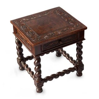 Handmade Viceroy Single Drawer Dark Brown Leather and Mohena Wood End Table with Turned Legs (Peru)