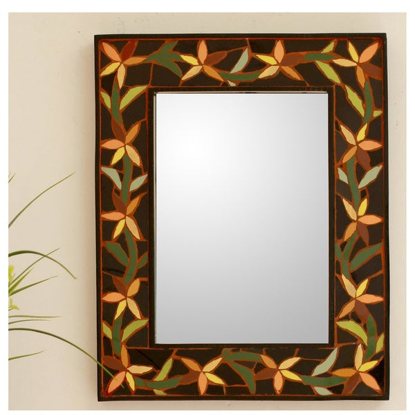 Handcrafted Ceramic 'Daffodil Garland' Mirror (India)