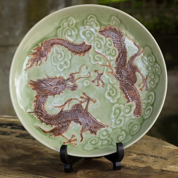 Handmade Celadon Ceramic 'Dragon Journeys' Plate (Thailand)
