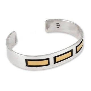 Handmade Men's Gold Accent 'Structures' Cuff Bracelet (Mexico)
