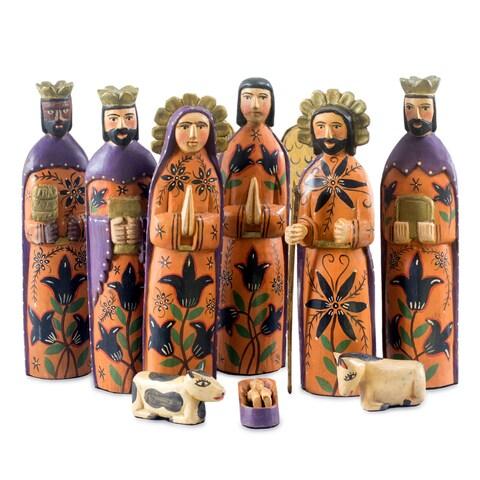Handmade Set of 9 Pinewood 'Rejoice' Nativity Scene Large (Guatemala)