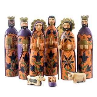 Set of 9 Pinewood 'Rejoice' Nativity Scene Large (Guatemala)