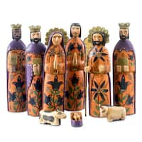 Handmade Set of 9 Pinewood 'Rejoice' Nativity Scene Large (Guatemala)