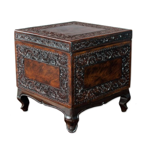 Tradition Dark Brown Leather and Mohena Wood Unique and Removable Cube Storage Ottoman - Dark brown