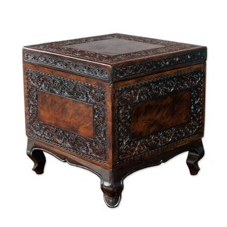 Traditional Dark Brown Tooled Leather and Mohena Wood with Unique Cabriole Legs and Removable Lid Cube Storage Ottoman (Peru)