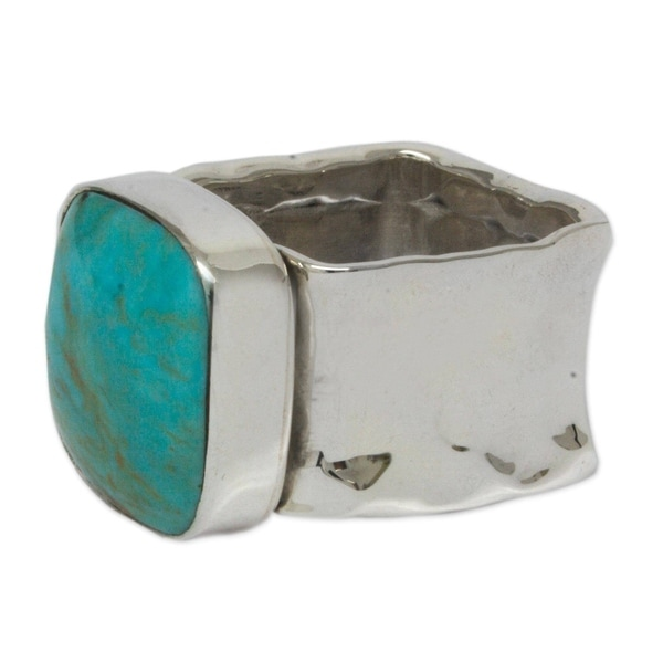 Handmade Always Azure Turquoise Cocktail Sterling Silver Ring (Mexico). Opens flyout.