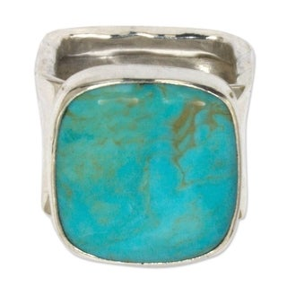 Handcrafted Sterling Silver Always Azure Turquoise Cocktail Ring (Mexico)