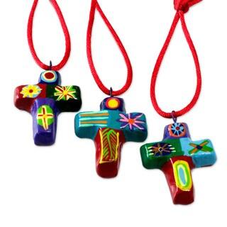Set of 6 Handmade Ceramic 'Cheerful Crosses' Ornaments (Guatemala)