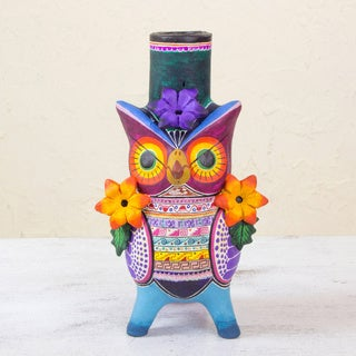Handcrafted Ceramic 'Flirty Aztec Owl' Candleholder (Mexico)
