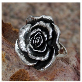 Taxco Rose Romantic Feminine Flower Oxidized 925 Sterling Silver Vintage Feel Antique Look Womens Statement Ring (Mexico)