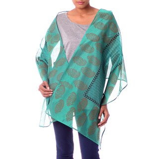 Handmade Cotton and Silk 'Story in Turquoise' Shawl (India)