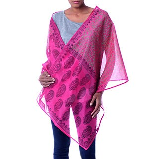 Handmade Cotton and Silk 'Festive Durga Puja' Shawl (India)