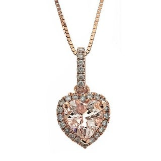 Anika and August 10k Rose Gold 1/6ct TDW Diamond and Morganite Pendant (G-H, I1-I2)