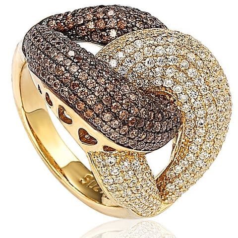 Suzy L. Goldplated Sterling Silver Brown Cubic Zirconia Anniversary Ring