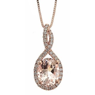 Anika and August 10k Rose Gold 1/5ct TDW Diamond and Round-cut Morganite Pendant (G-H, I1-I2)
