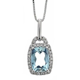 Anika and August 10k White Gold 1/5ct TDW Diamond and Brazilian Aquamarine Pendant (G-H, I1-I2)